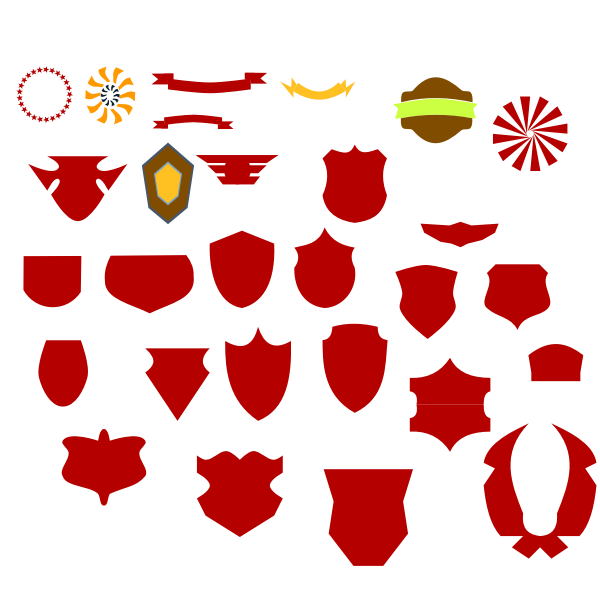 Vector graphics of random collection of non-specific emblems and logos