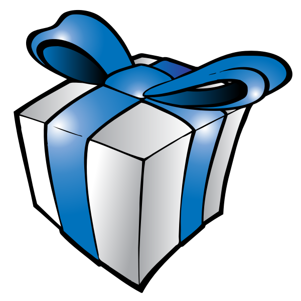 Christmas present with blue ribbon vector illustration
