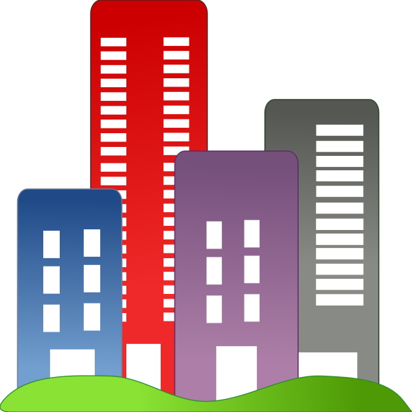 Vector graphics of real estate colorful buildings
