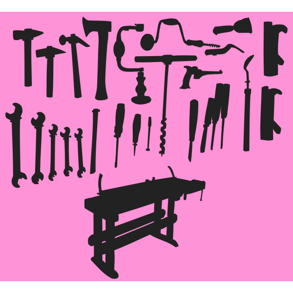 Tools and workbench silhouette
