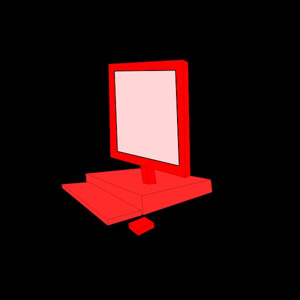 Red desktop computer configuration vector clip art