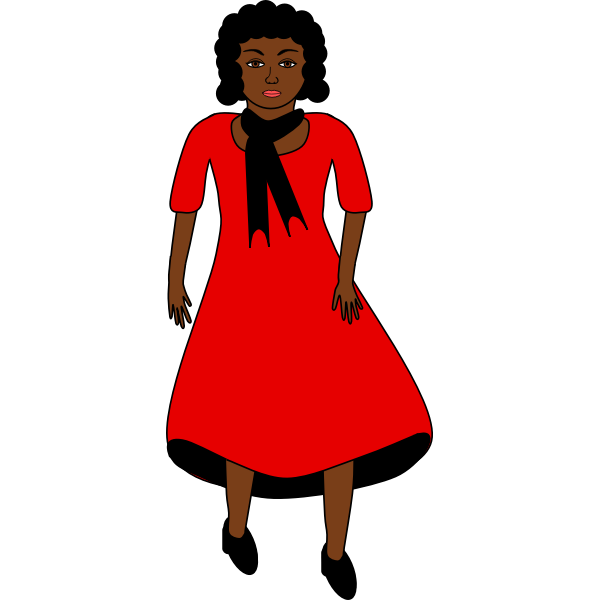 Afro-american lady in red dress