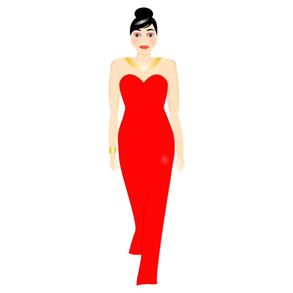 Vector illustration of lady in long red dress