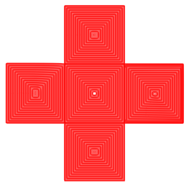 Red cross containing red square-pyramids illustration