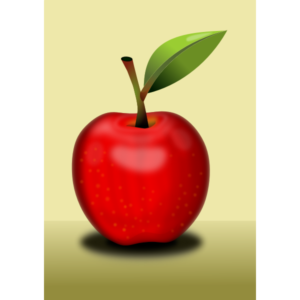 Simple red apple with leaf vector image