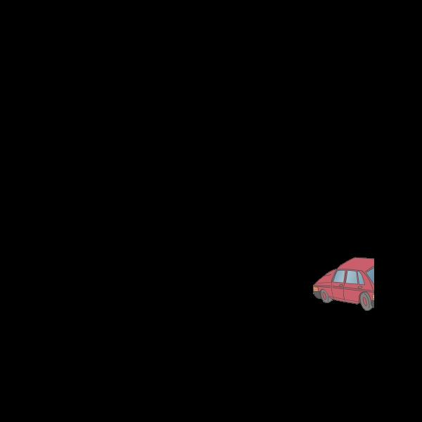 Vector illustration of vintage red car