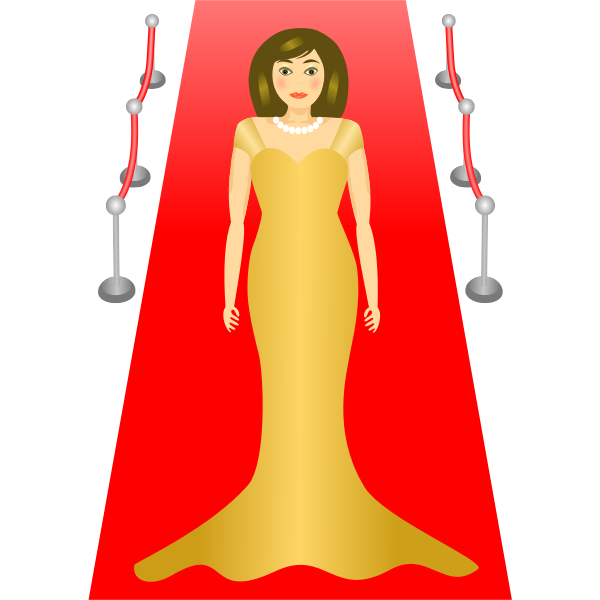Vector drawing of lady in elegant dress