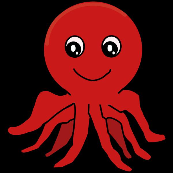 Red Cartoon Octopus
