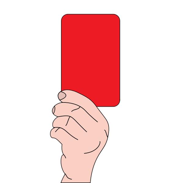 Referee showing red card vector drawing