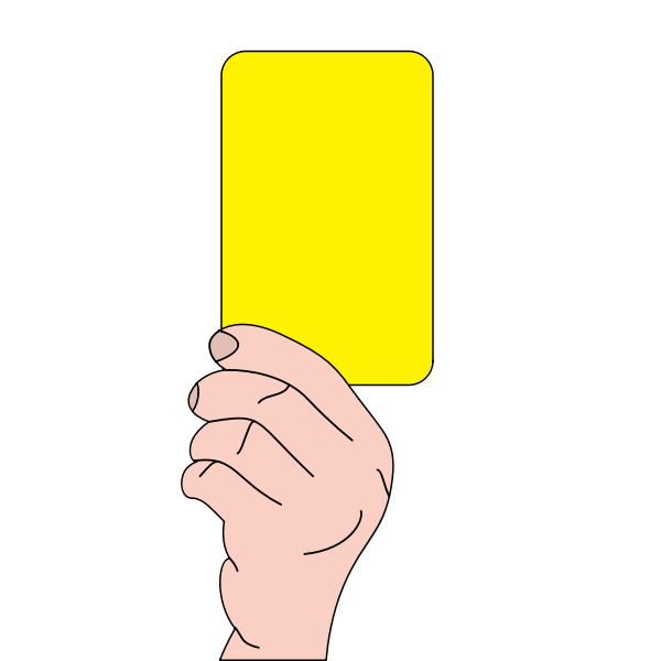 Referee showing yellow card vector graphics
