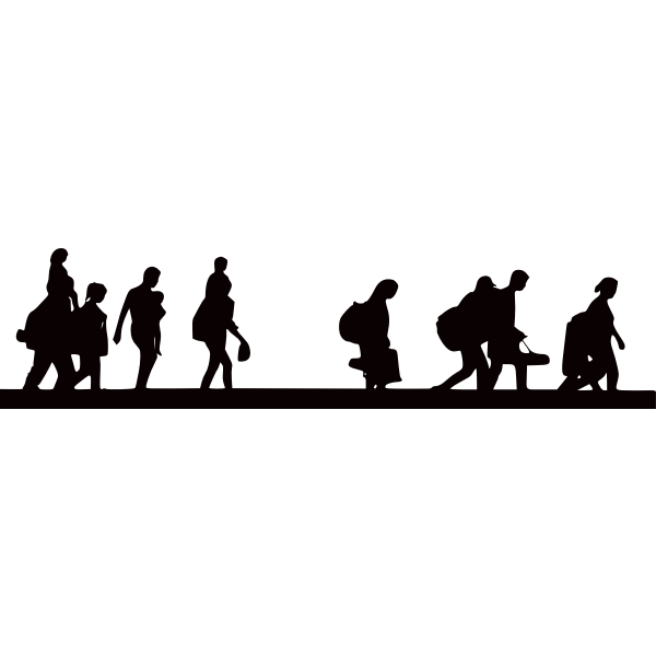 Silhouette of refugees fleeing from the war