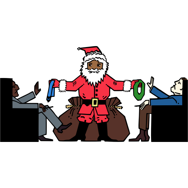 Vector graphics of men in blue not accepting presents