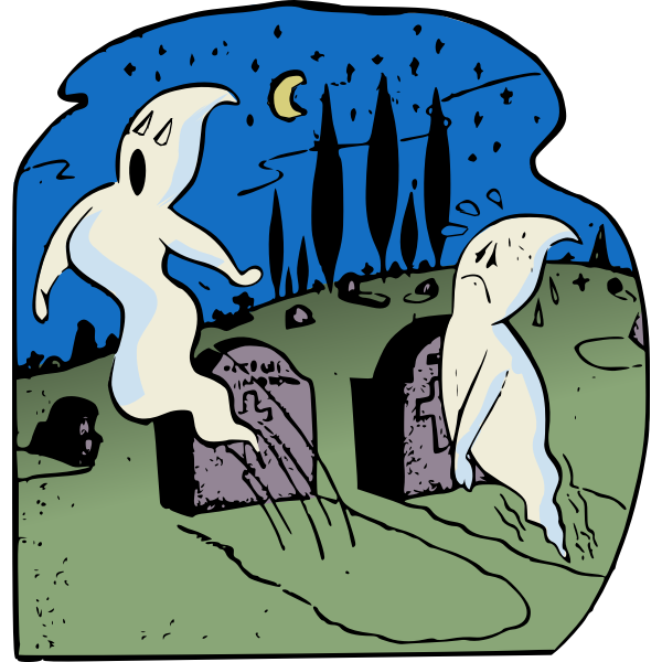Ghosts in graveyard