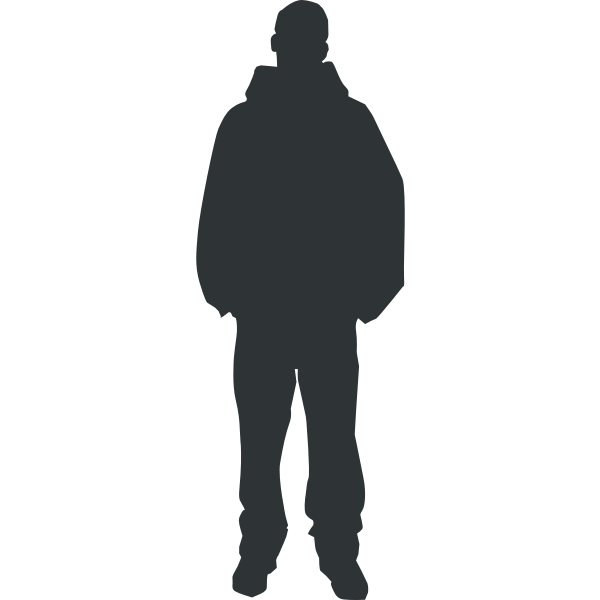 Silhouette of a man in sweatshirt vector image