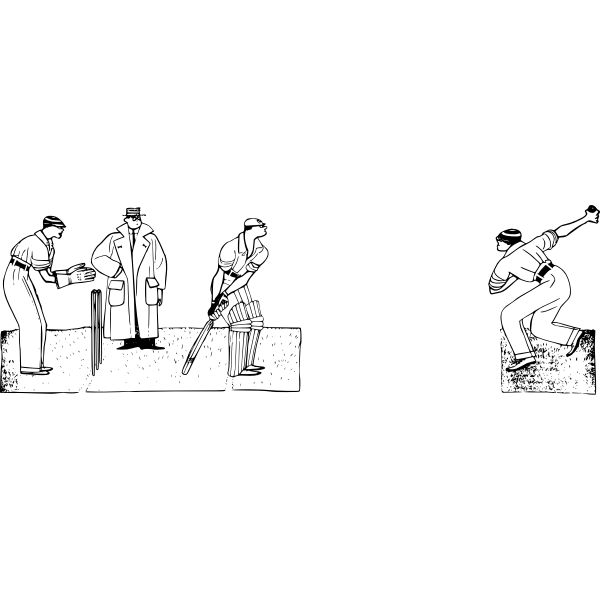 Vector graphics of men playing cricket scene