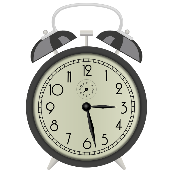 Clip art of classic clock with alarm bell