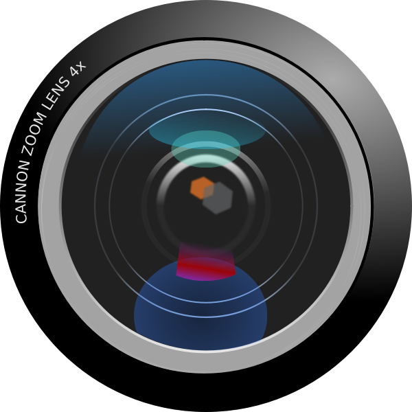 Vector graphics of photorealistic camera zoom lens close/up