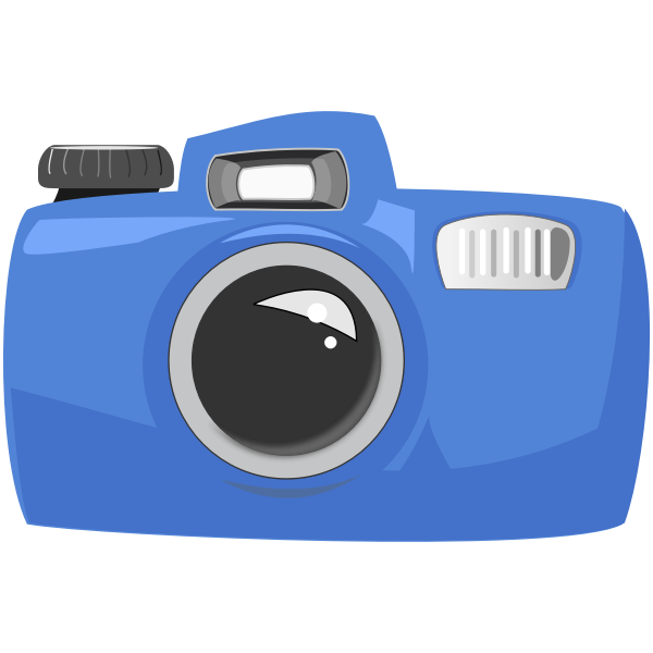 Vector drawing of cartoon blue underwater camera