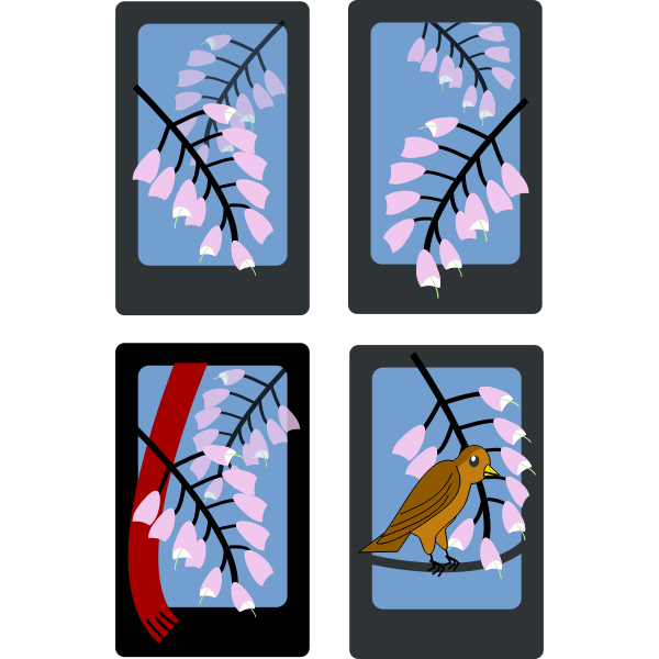 Vector illustration of spring scenery on four cards
