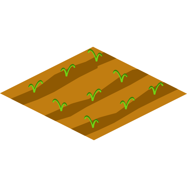 Soil with crops