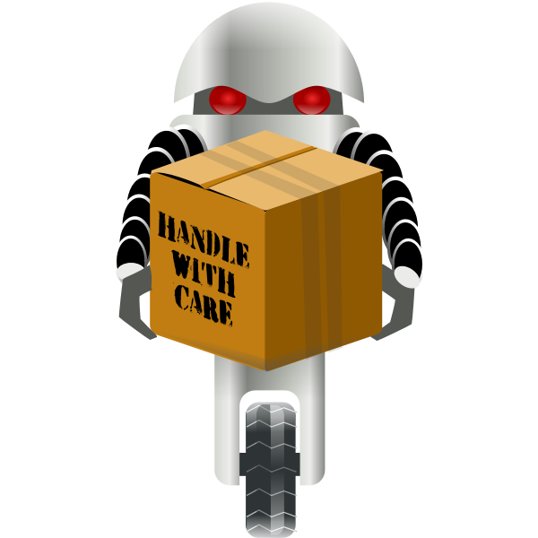 Robot carrying fragile parcel vector illustration