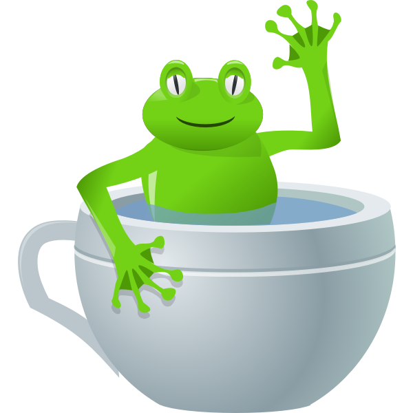 Vector drawing of frog in a tea cup