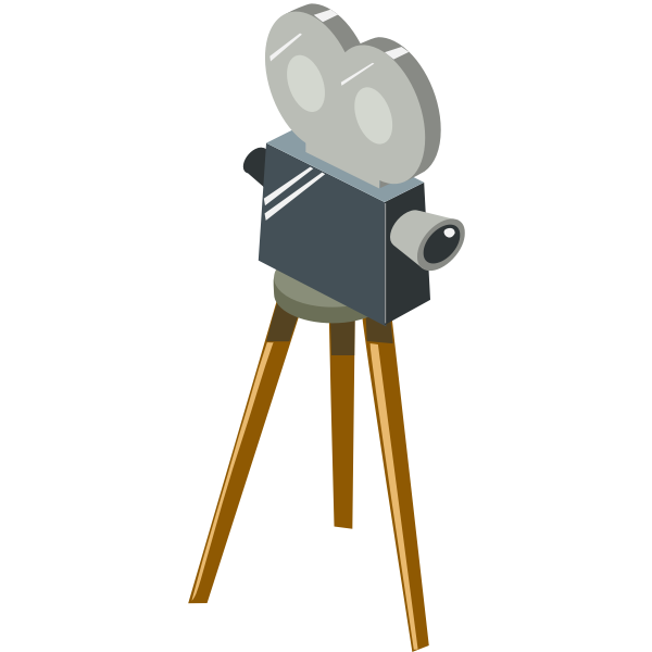 Cartoon movie camera vector drawing