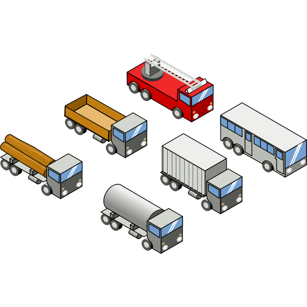 Vector image of four trucks, a bus and a firefighter truck