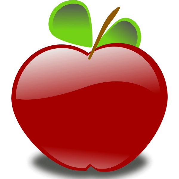 Vector image of shiny red apple