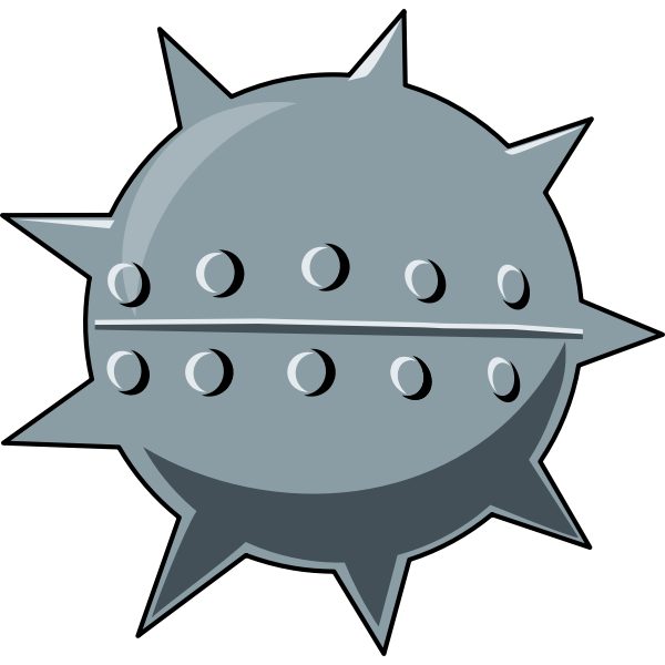 Vector image of cartoon sea mine