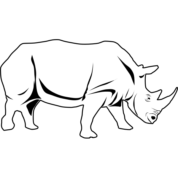 Vector line art image of a rhino