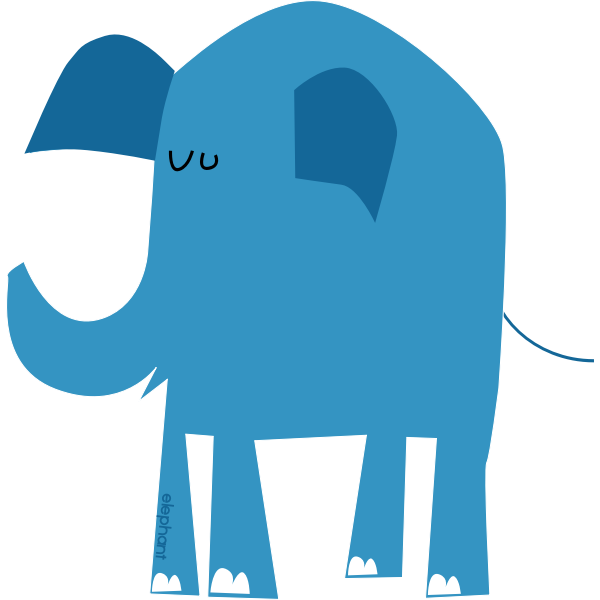 Blue elephant vector drawing