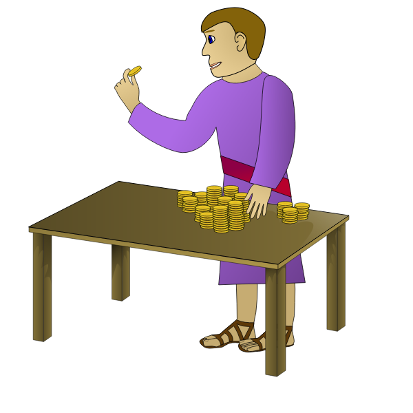 Young man counting money vector
