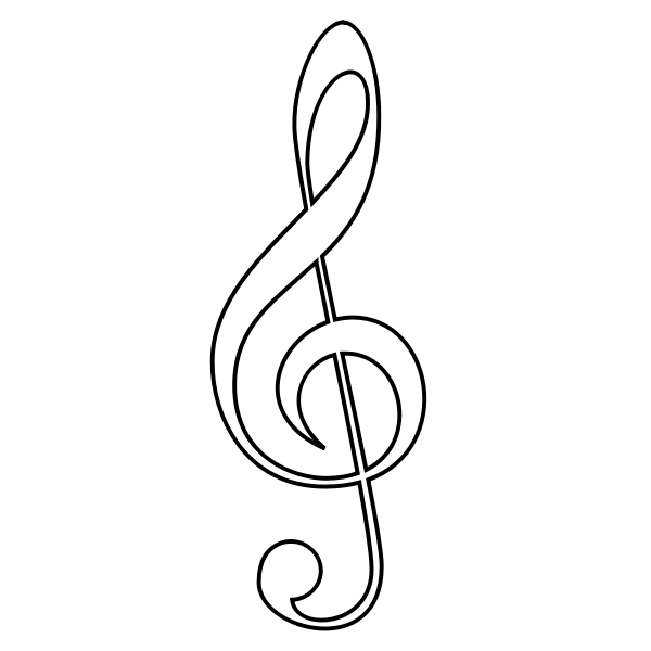 Treble clef outline vector illustration