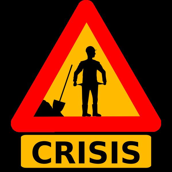 Vector clip art of money crisis warning roadsign