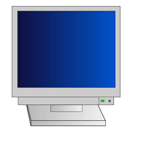 CRT monitor with power light vector clip art