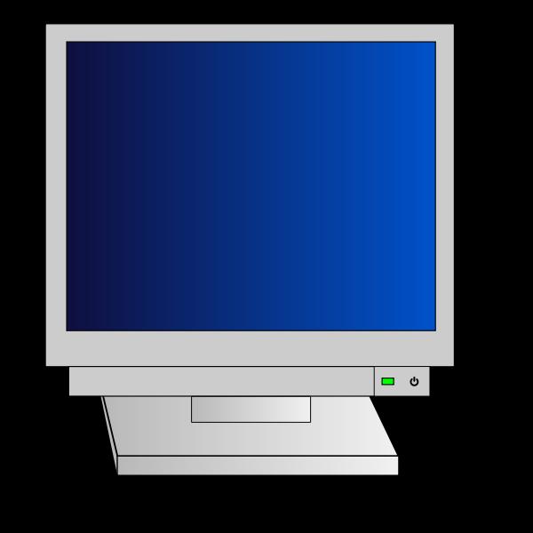 CRT monitor with power light vector clip art
