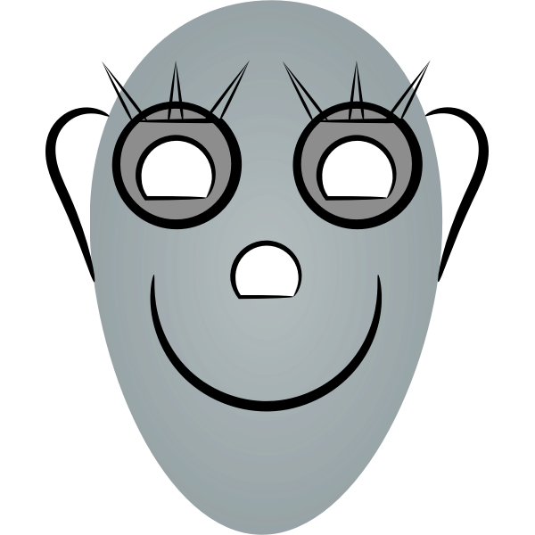 Vector illustration of oval faced robot face