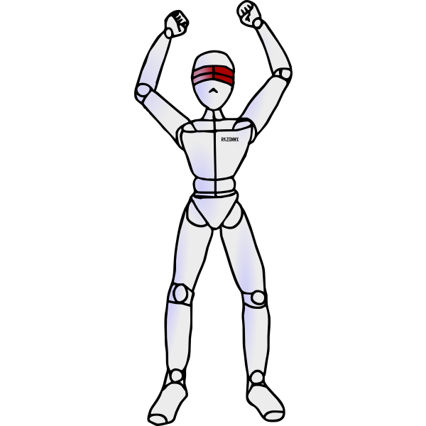 Robot with fists in air