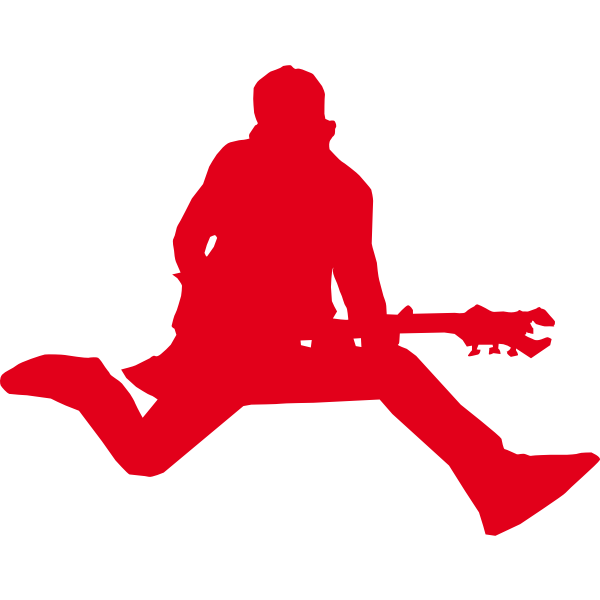 Silhouette of rock star with guitar vector graphics