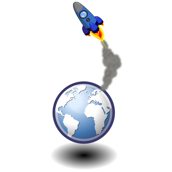 Vector illustration of rocket in space over Earth
