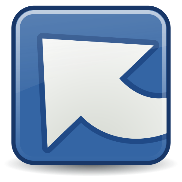 Blue and white illustration of upload icon