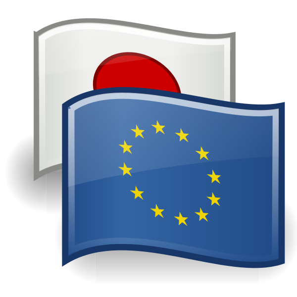 Drawing of EU and Japan flags