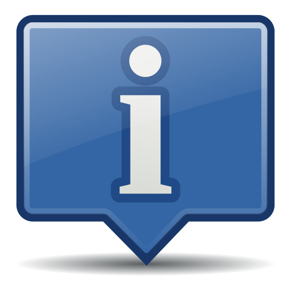 Information icon with shadow vector clip art