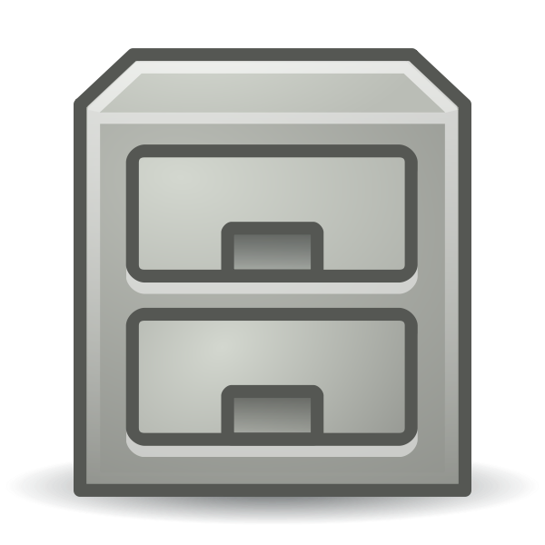 Vector graphics of reflective filing cabinet