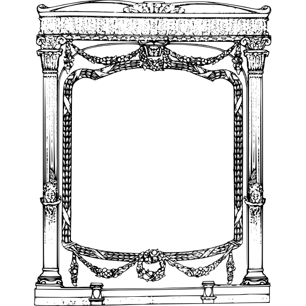 Roman decorative frame with lion heads vector clip art