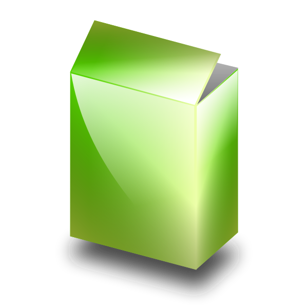 Green box in 3D vector image