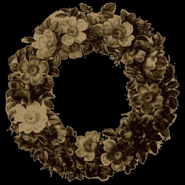 rose wreath sepia