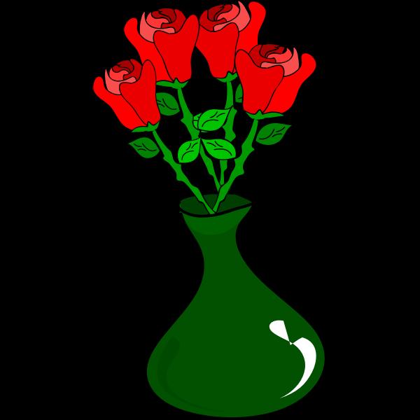 Vector drawing of roses pot