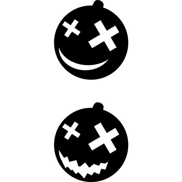 Halloween pumpkins black and white vector clip art